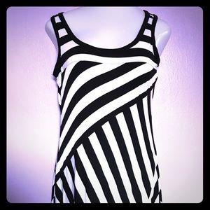 Long Black and White Striped Maxi Dress